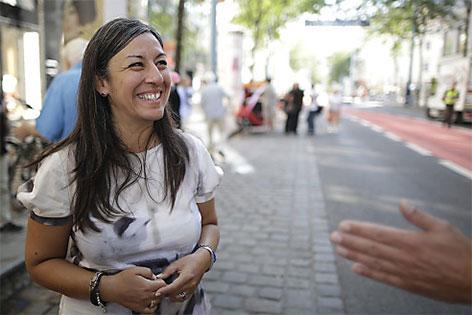 Maria Vassilakou auf der Mariahilfer Straße