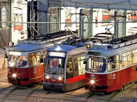 Alle derzeit in Betrieb befindlichen Straßenbahngenerationen der Wiener Linien