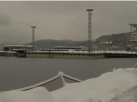 Seebühne Winter Schnee