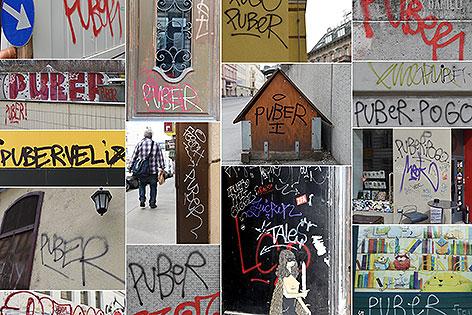 """""""Puber""""-Schriftzüge in Wien"""