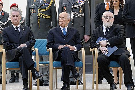 Gedenkfeier mit Heinz Fischer, Shimon Peres und  Chaim Eisenberg