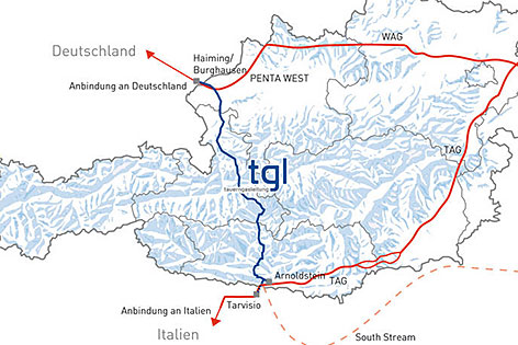 Geplanter Verlauf der Tauerngasleitung durch Österreich