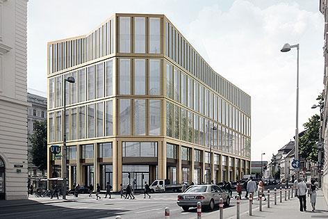 Rendering des Siegerprojekts für Bürohaus statt früherem Rechenzentrum in der Rathausstraße