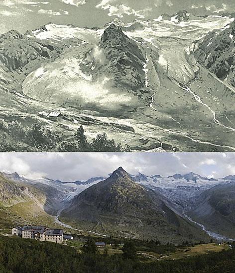 Zillertaler Gletscher auf zwei Fotos, einst und heute