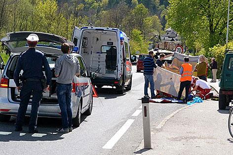 Ansicht des Unfallortes in Grödig an der Kreuzung des Gasthauses Schorn