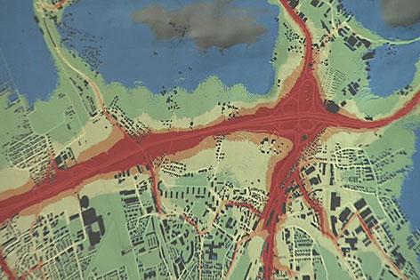 Karte zeigt die durch Luftverschmutzung gesundheitsgefährdenden Zonen in der Stadt Salzburg