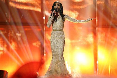 Conchita Wurst auf der Bühne beim Eurovision Song Contest 2014 in Kopenhagen