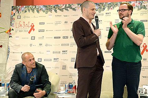 Gery Keszler, Manuel Rubey, Thomas Stipsits bei Pressekonferenz zum Life Ball 2014