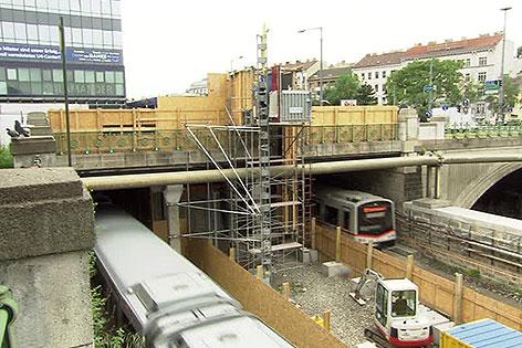 Baustelle U4 Stellwerk in Meidling