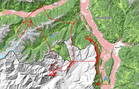 Die Wanderroute von M25 in Südtirol