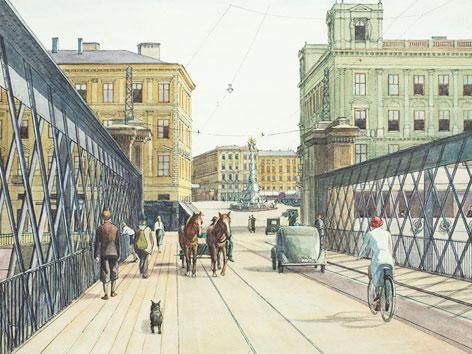 Brückenkopf Linz mit der alten Brücke und Blick auf den Hauptplatz, 1938