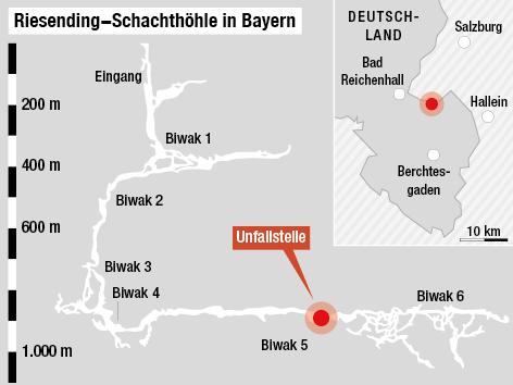 Grafik zeigt stilisierte Höhle in Bayern