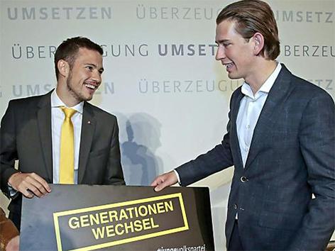 Landesobmann der Jungen ÖVP Kärnten Sebastian Schuschnig und Außenminister Sebastian Kurz