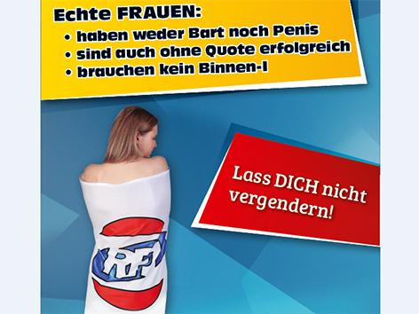 "In RFJ-Fahne gehüllte Frau der ""Echte Frauen""-Kampagne des RFJ"