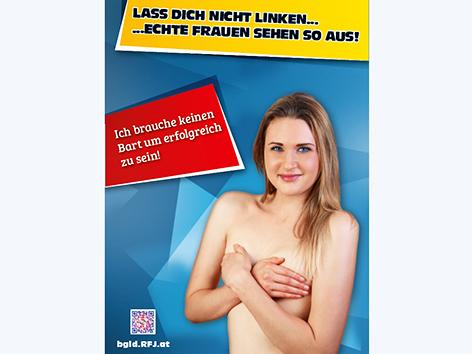 """Nackte Frau mit verschränkten Armen vor den Brüsten der """"Echte Frauen""""-Kampagne des RFJ"""