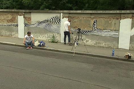 Straßenkünstler bei der Arbeit