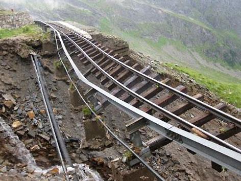 Reisseck Bahn Unwetter Gleise unterspült