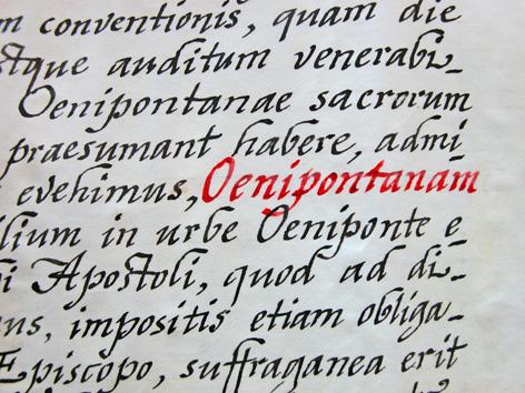 Ausschnitt aus der Ernennungsurkunde der Diözese Innsbruck