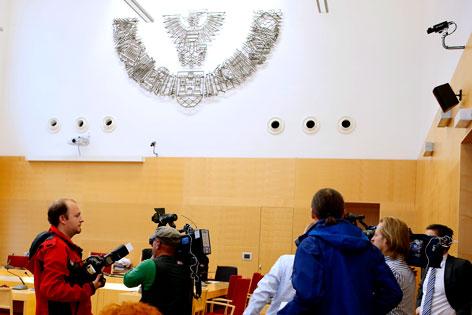 Gerichtssaal in Wels vor Beginn der Verhandlung