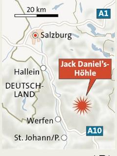 Grafik zur Lokalisierung der Jack Daniels Höhle im Salzburger Tennengebirge