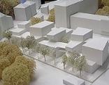 Modell des Cassco Bauprojekts am Franz-Rehrl-Platz (Rehrplatz) neben dem Unfallkrankenhaus in der Stadt Salzburg