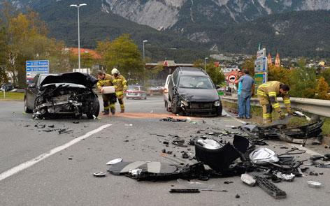 Unfall auf Mieminger Straße in Telfs