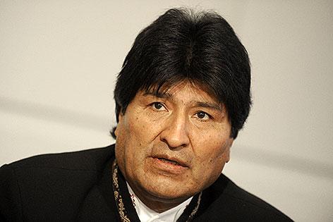 Boliviens Präsident Evo Morales bei Pressekonferenz