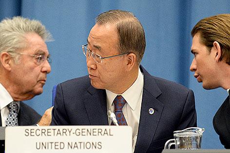 Bundespräsident Heinz Fischer, UNO-Generalsekretär Ban Ki-moon, Außenminister Sebastian Kurz