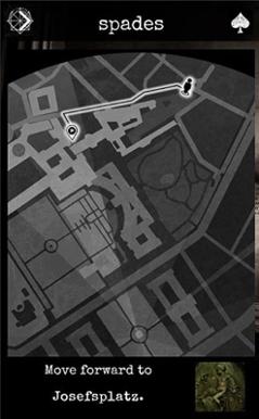 """Spiel """"4 Asse"""", Wegbeschreibung in der App"""