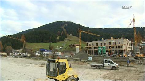 Bauarbeiten am Gelände Skigebiet Sexten
