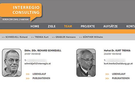Internetseite der Interregio Consulting mit Kurt Trenka, Leiter der Naturschutzabteilung des Landes Salzburg