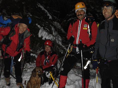 Die Bergrettung der Sektion Villach unter Leitung von Hrn. Günther Pischelsberger und Hund Ares