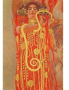 Gustav Klimt, Medizin (Detail: Hygieia), 1900/07, Fakultätsbild für die Universitäten  Öl auf Leinwand, Farblithografie