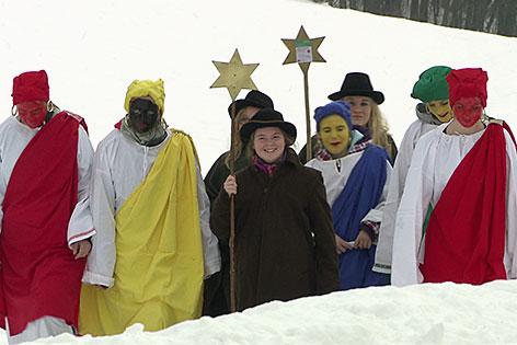 Sternsinger im Schnee
