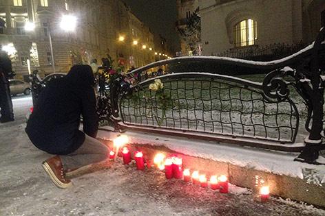 Kerzen bei einer Solidaritätskundgebung in Wien