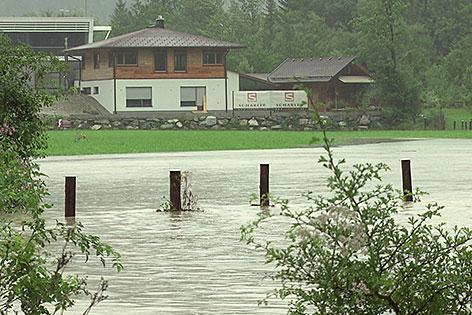 Überschwemmte Wiese bei Hochwasser