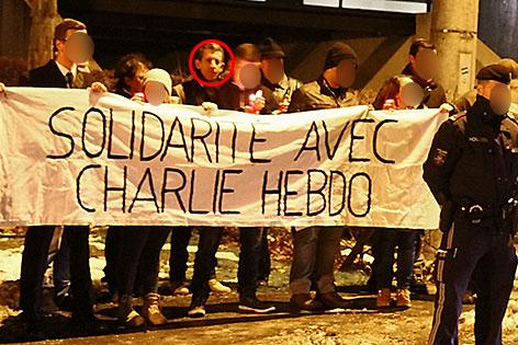 """Identitären bei der Salzburger Mahnwache nach dem """"Charlie Hebdo"""" Attentat in Paris"""