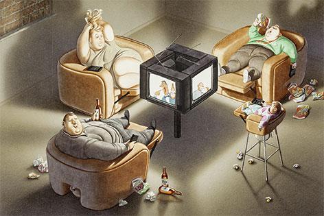 Gerhard Haderer, Die Fernsehfamilie, 1990