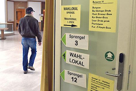 Wahllokal bei den Gemeinderatswahlen in Purkersdorf