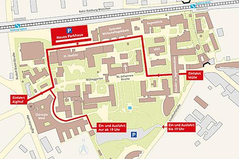 Die neue Verkehrsführung der Salzburger Landeskliniken