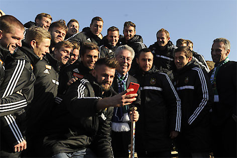 Heinz Fischer mit der Rapid-Mannschaft