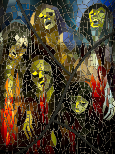 """Glasfenster mit dem Titel """"Gaskammer"""""""