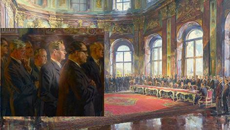 Karl Gruber herausgehoben im Gemälde des Staatsvertrags