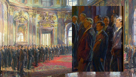 Ludwig Steiner hervorgehoben am Gemälde des Staatsvertrags