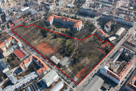 Teilfläche der General Körner Kaserne in Wien Penzing ausgeschrieben
