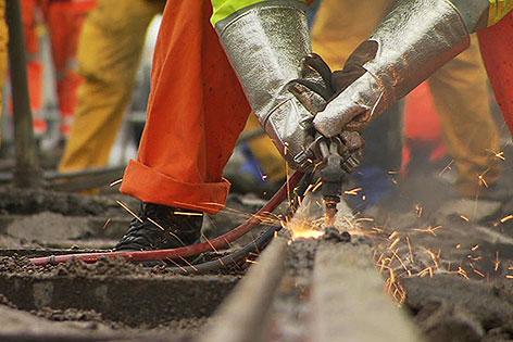 Gleisarbeiten am Ring