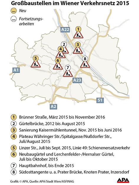 Großbaustellen im Wiener Verkehrsnetz