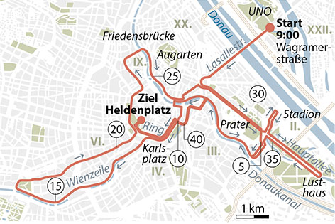 Grafik Streckenverlauf Marathon