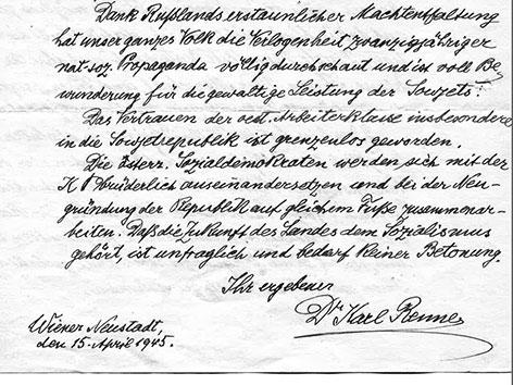 Originalbriefe von Renner an Stalin