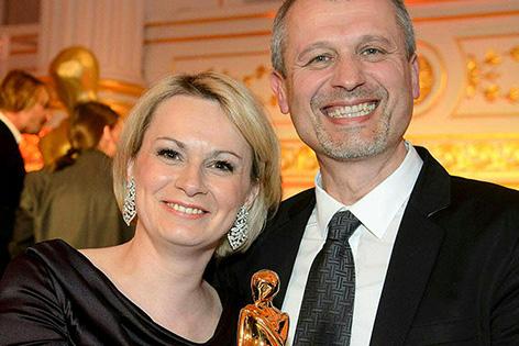 Lou Lorenz-Dittlbacher und Matthias Schmelzer anlässlich der Verleihung der Romy-Akademiepreise am Donnerstag, 23. April 2015, in der Wiener Hofburg